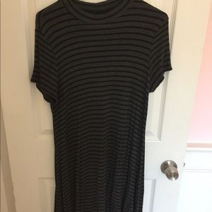 Grey & Black Striped Casual High Neck Dress